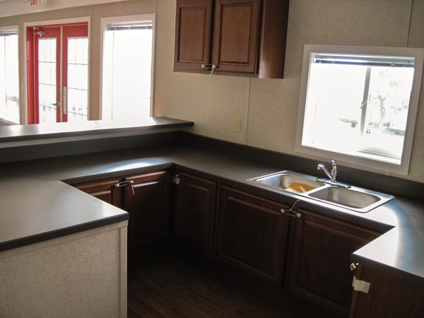 Kitchen area with sink